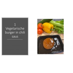 1 vegetarische burger in chili saus